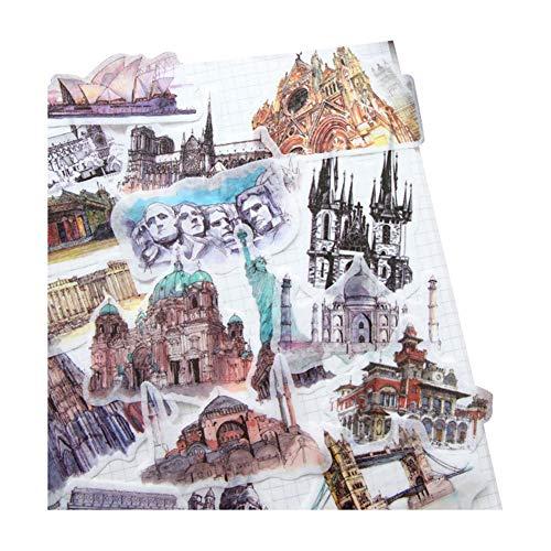 CAOLATOR. Deko Aufkleber Scrapbooking Stickerbuch Fotoalbum Aufkleber Geb?ude Sticker Tagebuch Kinderaufkleber Notizbuch Kalender DIY Dekoration