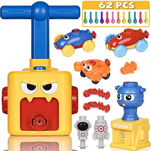 PartyWoo Powerballon Set, 72 Stück Ballon Auto mit Pumpe, Luftballon Spielzeug, Power Ballon für Kinder, Powerballon Spielzeug, Ballon Angetriebenes Ballon Auto, Geschenke für Kinder (Kleines Monster)