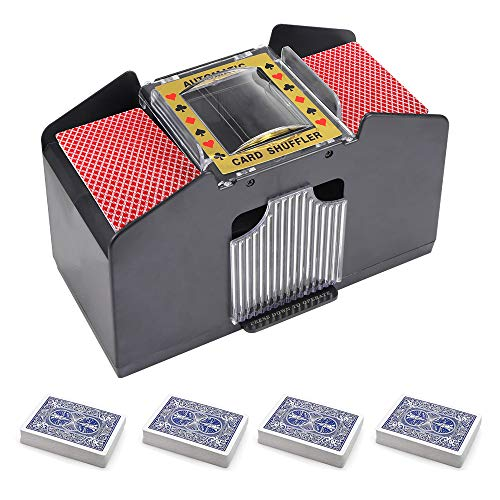 YanFeng Automatischer Kartenmischer, Kartenmischer Kartenmischmaschine Poker Card Shuffler Kartenmischmaschine für 2/4/6 Deck Poker
