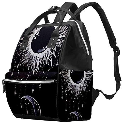 LORVIES Magic Sun Moon Art - Bolso cambiador de pañales con bolsillos aislados, correas para cochecito, gran capacidad, multifunción, elegante bolsa de pañales para mamá, papá al aire libre