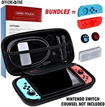 OffiCreative Protective Switch Case & Travel Cover for Nintendo Switch | Light Weighted Black Colored Nintendo Case with Free Bundle of 2 Silicon Hand grip Covers, 2 Silicon Thumb stick Covers