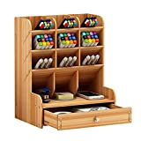 Organizador de escritorio de madera multiusos con cajones y almacenamiento para bolígrafos y artículos de papelería, ideal para el hogar, la oficina y la escuela, color Madera de cerezo.