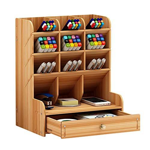 Organiseur de bureau en bois multifonction avec tiroir pour maison, bureau ou école Cerisier