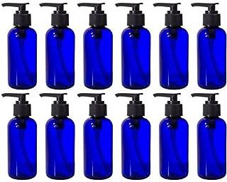 Cobalt Blue 4 oz Boston Round PET Bottles (BPA Free) with Black Lotion Pump (12 Pack) + Labels