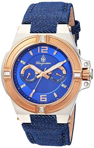Burgmeister Armbanduhr für Damen mit Analog Anzeige, Quarz-Uhr und Textil Armband - Wasserdichte Damenuhr mit zeitlosem, schickem Design - klassische, elegante Uhr für Frauen - BM220-933 Denim