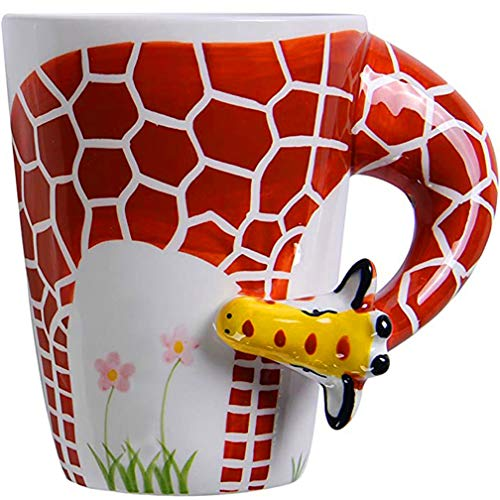 Ponerine Coffee Mugs With Handle 3D Porcelain Animals Cup Cute Giraffe Creative Coffee Mugs & Tea Cup, for Coffee Lovers Gifts, Kids Mugs, 14 oz…