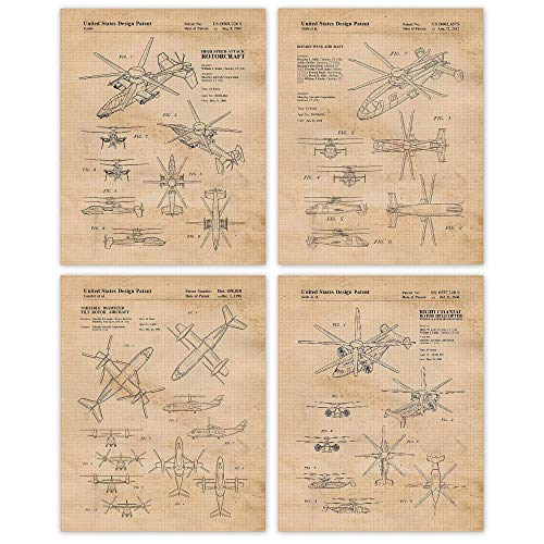 Vintage Sikorsky Helicopter Airplane Patent Poster Prints, Set of 4 (Four) 8x10 Unframed Photos, Wall Art Decor Gifts Under 20 for Home, Office, College Student, Teacher, Coach, Pilot & Aviation Fan