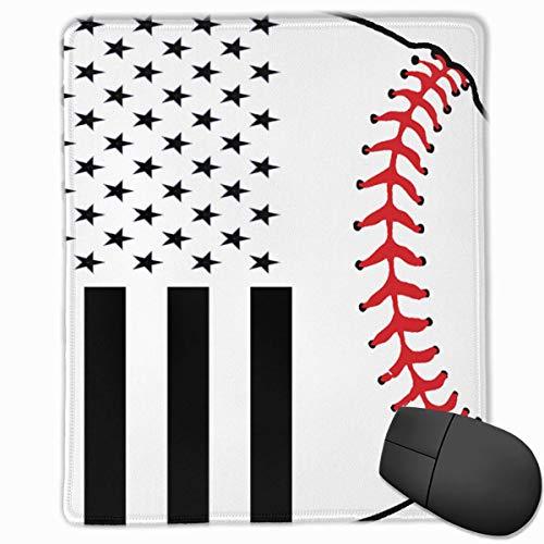 Bandera Americana y rectángulo de béisbol Alfombrilla de Goma Antideslizante Mousepad Accesorios para computadora 18 x 22 CM
