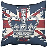 20x20 Inch Throw Pillow Cover Polyester Black Queen The Imperial State Crown On UK Flag White England Jack British Union Royal Cushion Decorative Pillowcase Square Two Side Print Home 16' X 16'(IN)