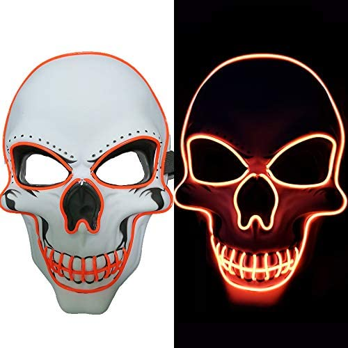 Halloween Mask LED Light up Costumes Scary Mask for Party Supplies Favor yellow product image