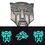 Metal Car Styling Self-Luminous After Absorbing Light Transformers Autobot Emblem Badge Sticker Decal (Black)