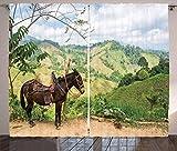 ABAKUHAUS Burro Cortinas, Montañas de Columbia Rurales, Sala de Estar Dormitorio Cortinas Ventana Set de Dos Paños, 280 x 245 cm, Multicolor