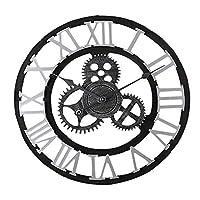 ヴィンテージ壁掛け時計特定のサイレントムーブメントローマンギア大型家庭用キッチン、寝室オフィスホテルレストランアクセサリー用金属時計 40CM-S-R