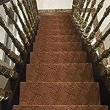 XHCP Peldaños de Escalera Antideslizantes, Alfombrilla Floral de Color sólido para Interiores y...