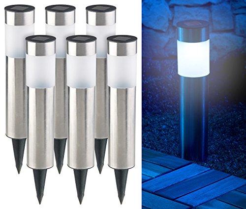Lunartec LED Gartenleuchten: 6er-Set Elegante Edelstahl-Solar-LED-Wegeleuchten, mit Lichtsensor (Solar Gartenleuchten mit Erdspieß)