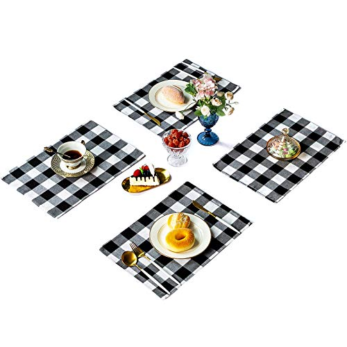 Wusteg 8 Set Buffalo Plaid Placemats 12x18 Inch Cotton Burlap Christmas Placemats Decorative Kitchen Table Placemats for Home Holiday Christmas Table Decorations