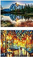 CNPanda 2パック DIY 油彩絵 数字 キット 大人用 絵の具 キャンバスの番号に従って色 16 x 20インチ 絵画 ブラシ付き クリスマス装飾 (フレームなし) Couple + Sunrise 131