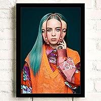 ポスター アートポスター Billie Eilish (26) A3 映画額縁のある絵 木製の枠 モダン 42cm x 30cm フレーム ブラック