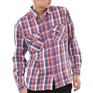 lee-lt0623 M チェック-BLUE(142)(リー)lee シャツ 長袖 メンズ チェックシャツ 無地 ウエスタンシャツ ブランドシャツ トップス 両胸ポケット 襟 厚手 綿100% ペン差し 重ね着 lee-lt0623