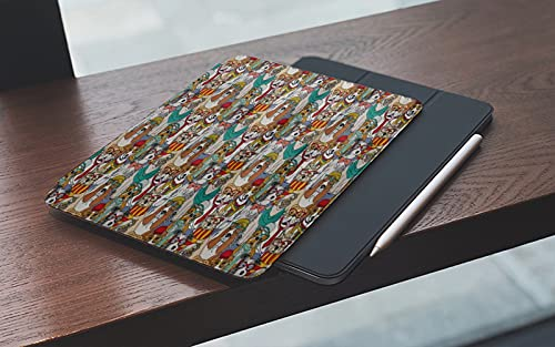 MEMETARO Funda para iPad (9,7 Pulgadas 2018/2017 Modelo), Único Hipster Bulldog Schnauzer Pug Razas con Gafas Sombreros Bufanda Dibujos animad Smart Leather Stand Cover with Auto Wake/Sleep