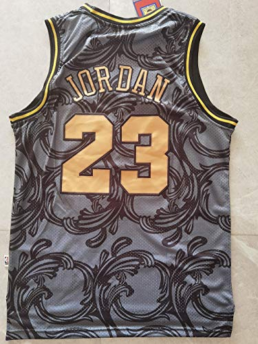 HS-XP Baloncesto De Los Hombres NBA Retro Chicago Bulls # 23 Michael Jordan Jersey, Gym Sports Transpirable Y De Baloncesto De Secado Rápido Camiseta Camiseta Camiseta,Gris,L(175~180cm)