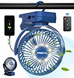 Clip on Fan Portable Desk Fan Rechargeable with LED Lights & Hooks 11800 mAh Battery Operated Fan with Clips 65 Hours Small Desk Fan Mini Fans for Tents Travel Outdoor Camping Golf Cart Emergency