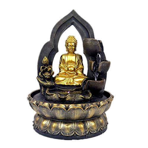 11.8in Buddha Tabletop Waterfall Fountain Fengshui Meditation Relaxing Indoor Decoration, Waterfall Kit with Circular Water Flow for Home, Office, Bedroom Decoration (Gold)