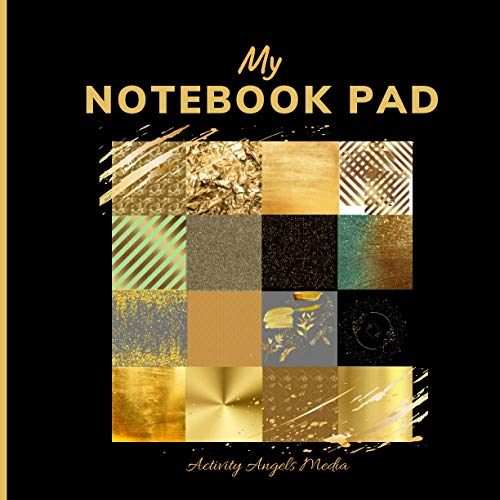 My Notebook Pad: Blank Pages Wide Ruled Lined Paper Gold Themed Cover Ideal for Adults and Kids to Write| Glam Glitz Luxury Decor (Abstract Pattern Art Cover Notebooks)