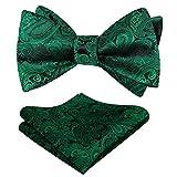 Alizeal Mens Paisley Jacquard Self Bow Tie Pocket Square Set (Dark Green)