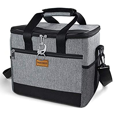 TAOCOCO Collapsible Cooler Bag, Insulated Leakproof Soft Sided Beverage Tote with Shoulder Strap, Bottle Opener and Storage Pockets