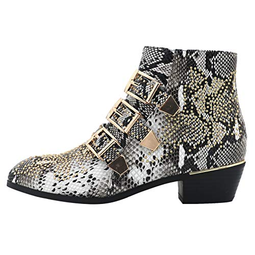 Comfity Boots for women, Women's Leather Booties Rivets Studded Shoes Metal Buckle Low Heels Ankle Boots Snake Gold 7 US