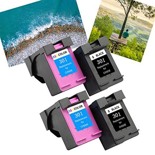 Ouguan® Remanufacturado Cartuchos de Tinta Reemplazo para HP 301XL (2 Negro, 2 Tricolor) Compatible con HP Deskjet 2540 1510 3050 2050 1512 1050 Envy 4500 5530 4502 Officejet 4630 2620 Impresoras