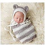 Bebé recién nacido fotografía apoyos niño Niña Gorro de Crochet para adulto...