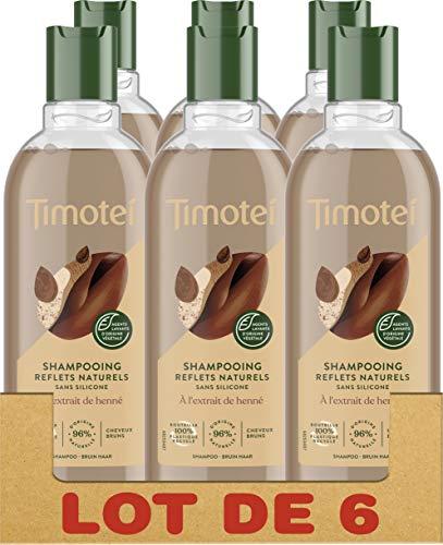 Timotei Shampooing Femme Refelts Naturels à l'extrait de Henné, Douceur et Eclat, Cheveux bruns, Sans silicone - Lot de 6 x 300ml