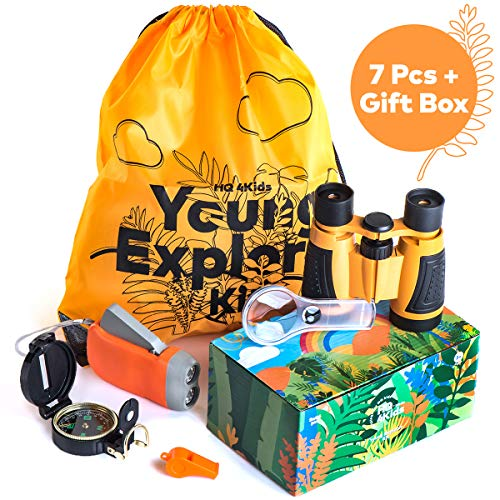 HQ 4KIDS BY: WE 4U - Outdoor Adventure Kit for Kids: Set Binoculars, Compass, Magnifying Glass & Flashlight. Explorer Hiking & Camping Toy , Exploring Nature & Birthday Gift 3-12 Year Old Boys & Girls