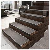 Tapis escalier Kit de 7 marchettes d'escalier Surface Confortable et antidérapante Confort & sécurité Pour Enfants, Aînés et Animaux De Compagnie, Tapis escalier (Size:30X85cm,Color:Gris foncé)