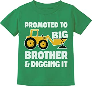 Tractor Loving Boy Promoted to Big Brother and Digging It Toddler Kids T-Shirt