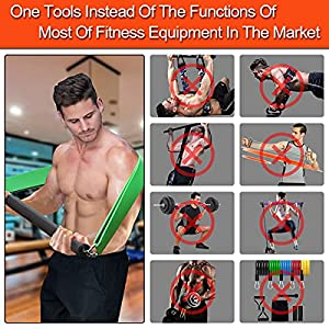 DASKING Portable Home Gym Resistance Bar Set with 4 Resistance Levels, 300LBS Heavy Loading Full Body Workout Equipment Weightlifting Training Kit,Workout Guide Included