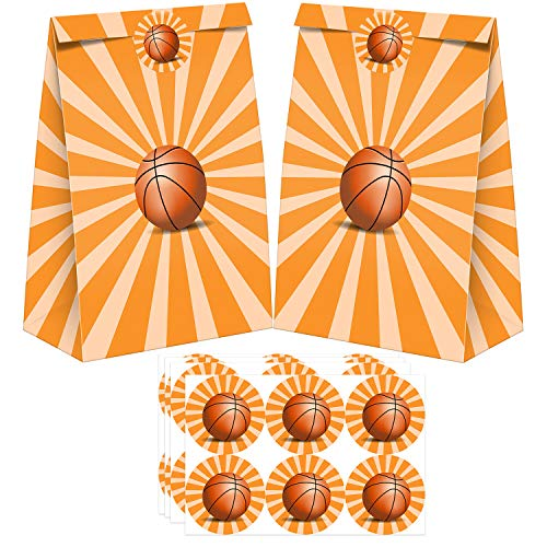 24 Pack Basketball Party Candy Favor Bags with Stickers, Basketball Goodie Gift Treat Bags Basketball Themed Birthday Party Supplies