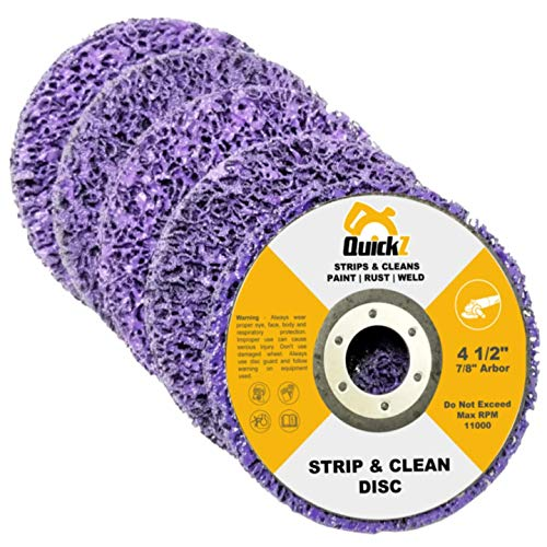 QuickT SDA702K 4 1/2' Rust Paint Stripper Remover Stripping Disc Abrasive Wheel Pad Tool for Angle Grinder - Pack of 5, 7/8' Arbor