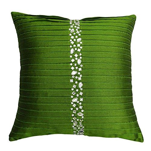 S4Sassy Hecha a Mano Fundas de colchón Funda de Almohada Decorativa con Cuentas de Piedra Verde Tiro Cuadrado de 24 x 24