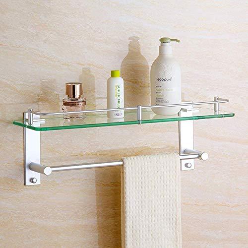 MERCB Estante de vidrio templado cuadrado para baño con estantes de pared y espacio de aluminio con fijaciones incluidas, accesorio de baño organizador de almacenamiento para baño