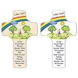 Fritz Cox® - Kinder-Holz-Kreuz Lieber Gott, die Erde braucht Regen - zeitloses Wandkreuz für zuhause und das Kinderzimmer (weiß, 14cm)
