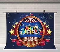Xサーカステント写真背景カーニバルナイトカラフルな花火背景ベビーシャワー誕生日パーティーバナー用品フォトブース小道具7x5ftBJSYFU240