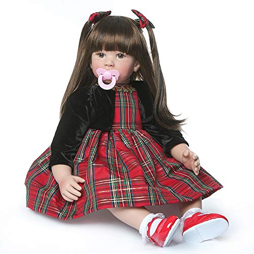 Binxing Toys 60 cm Muñecas Reborn Grandes Reborn Toddler Niña Vinilo de Silicona Mirada Realista Tamaño del niño