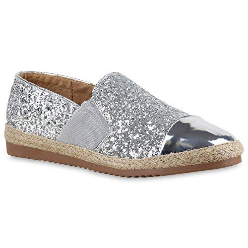stiefelparadies Modische Damen Bast Slipper Metallic Espadrilles Ethno Look Schuhe 137055 Silber 36 Flandell
