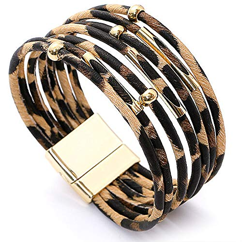 Suyi Damen Leopard Armbänder Breites Lederwickelarmband Mehrschichtiges Manschettenarmband Leopard1