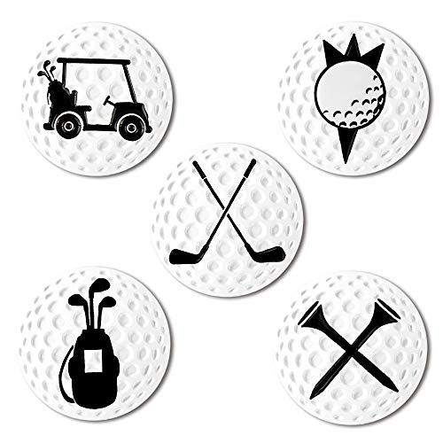 Myartte Creative Golf Ball Marker Soft Enamel Golf Markers Fit with Golf Hat Clip Golf Divot Tool 24.4MM Assorted 5 Pcs (Golf Club)