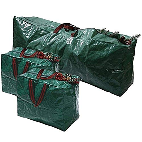 Ram® - Set di 3 borse extra grandi per riporre decorazioni dell'albero di Natale, con chiusura a zip e manici
