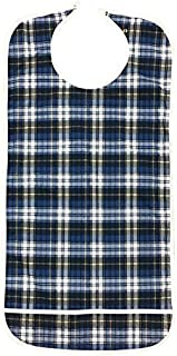 Personal Touch Tartan Print Hook and Loop Closure Clothing Protectors, Bib, Adult, Impervious, Snap, 18x36